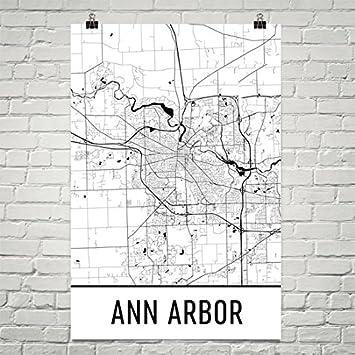 Amazoncom Ann Arbor Poster Ann Arbor Art Print Ann Arbor Wall - Ann arbor map