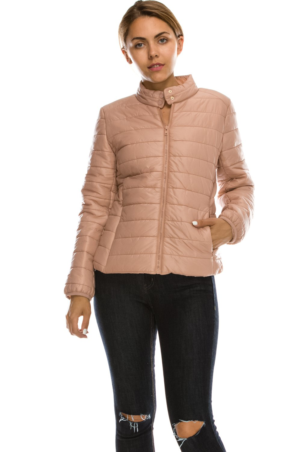 Daisy Women's Lightweight Solid Basic Outdoor Sports Quilted Puffer Jacket. J1(S,DustPeach)