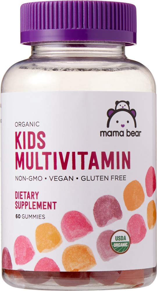 Amazon Brand – Mama Bear Organic Kids Multivitamin Gummies, 60 Gummies, 1 Month Supply