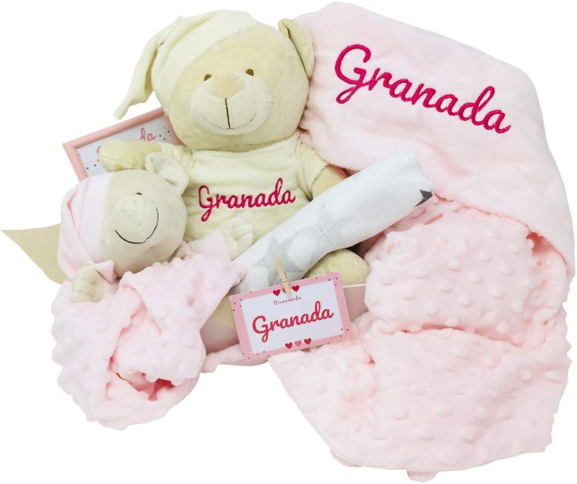 MabyBox Teddy Deluxe | Regalo Bebe Recien nacido | Set regalos bebe | Canastilla Bebé Original … (Rosa, 3-6 meses)