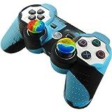 Pandaren Piel silicona para mando de PS3 (azul + negro) + pulgar thumbstick tapa palo agarre x 2