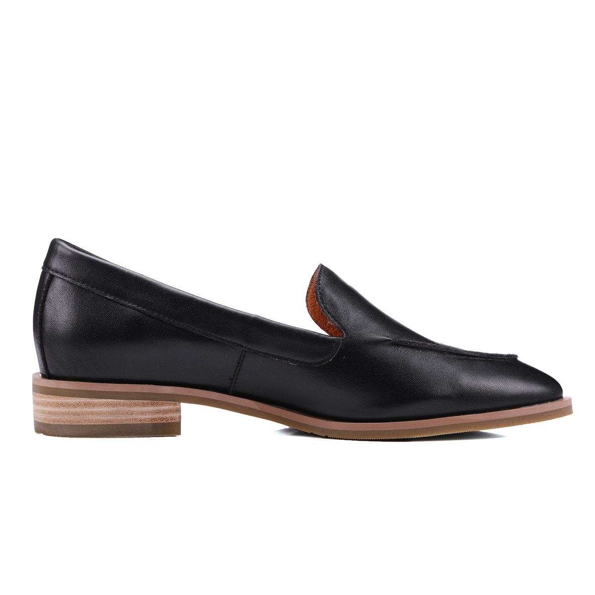 ONEENO Loafers for Women Comfort Casual Slip on Low Heel Cowhide Leather Flat Shoes Black Size 9 US by ONEENO (Image #2)