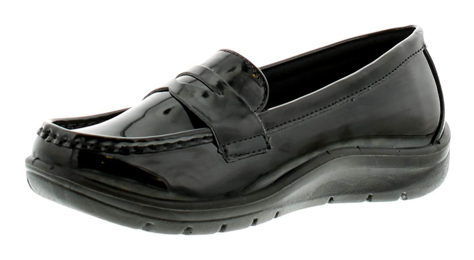 Femmes À Enfiler Verni Mocassin Style Chaussure Avec Légère Compensé Semelle Épais Durable Parfait Pour L'ecole, Travail Ou Collège - Noir Tailles Uk 3-8