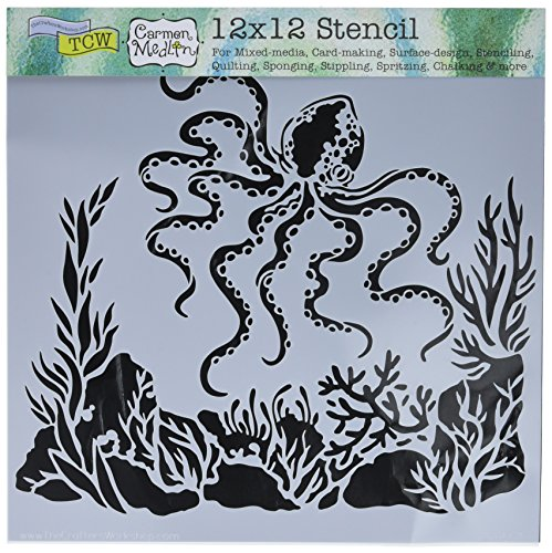 CRAFTERS WORKSHOP TCW607 Template, 12'' x 12'', Octopus, White by CRAFTERS WORKSHOP