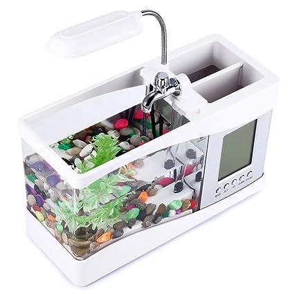 OPEN BUY Mini Acuario pecera con Bomba de Agua y luz, Despertador, Calendario,