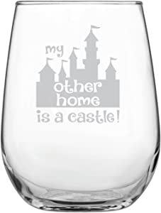 Funny Disney-Inspired Stemless Wine Glass   Mickey Mouse Fan   Princess   Birthday   Housewarming   Wedding   Anniversary Present   by Laser Etchpressions   My Other Home is a Castle