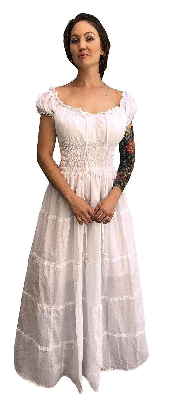 Faire Lady Designs Cotton Renaissance Wench Costume Peasant Dress Boho  Hippie Sundress White Plus Size