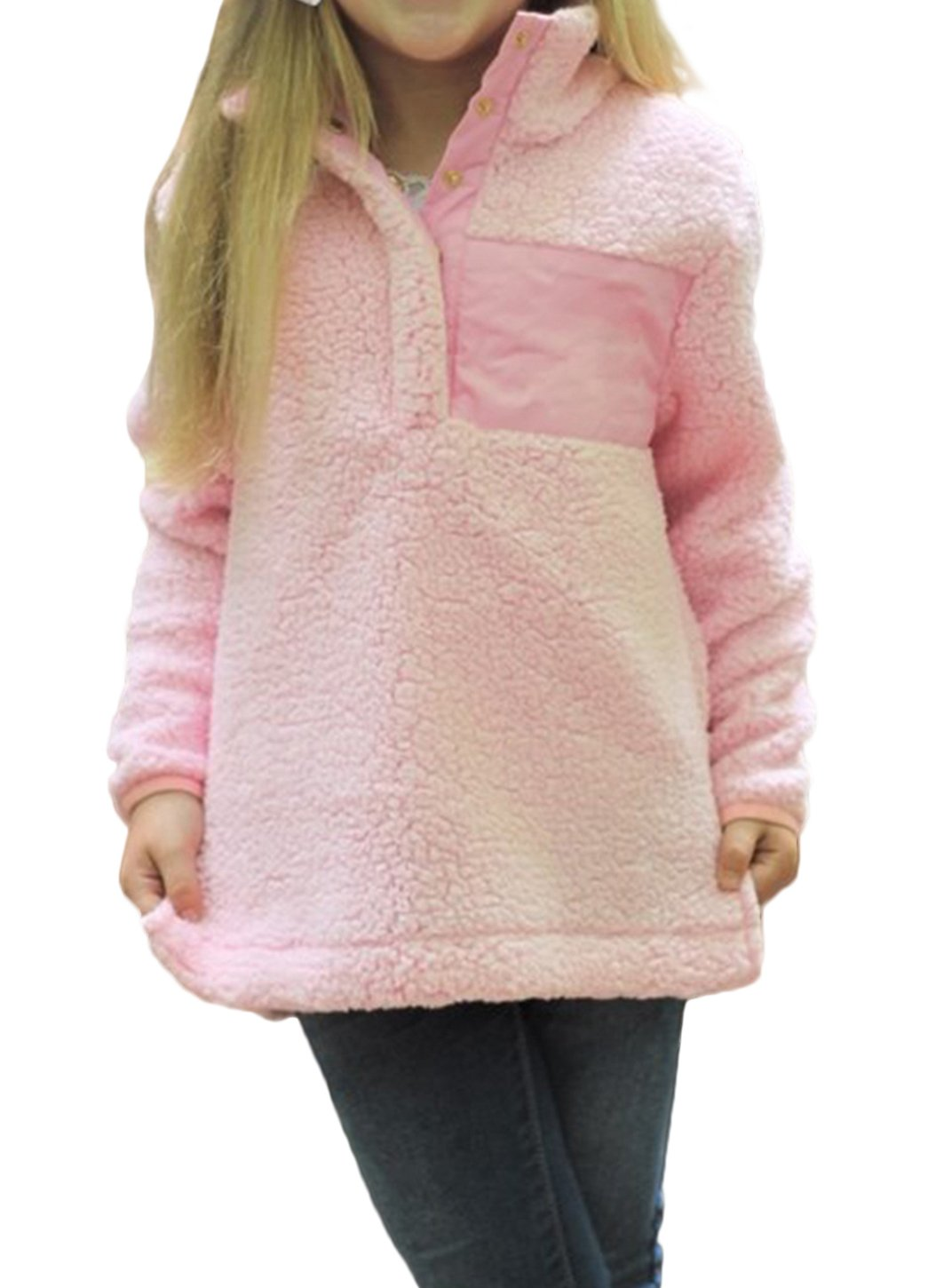 STKAT Girl's Stand Buttons Collar Pebble Pile Fleece Sherpa Pullover Winter Jacket Outwear