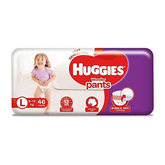 Huggies Wonder Pants, Large Size Diapers (9 - 14 kg), 46 Count