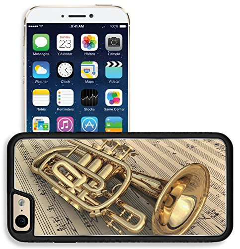 Liili Apple iPhone 6 iPhone 6S Aluminum Backplate Bumper Snap iphone6/6s Case Brass lacquered trumpet laying on music notes Photo 9208897 ()