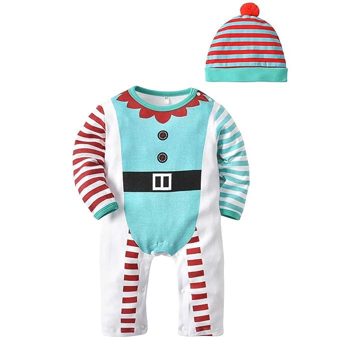 10f773f4e Bebe Mameluco Niños Pijama Mono - Bebé Niñas Conjunto de Ropa con Gorra  Algodón Manga Larga
