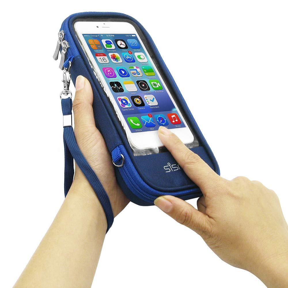 sisma Funda Cartera para iPhone X 7 8 Plus Hombre Mujer Estuche Compacta para Móvil y Batería Externa, Azul SCB171201MC-P-DB