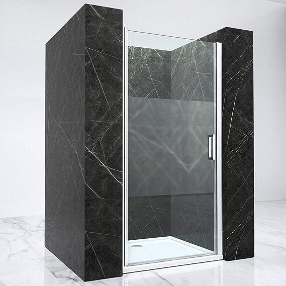 Hagen02MS-700 - Mampara para puerta de nicho (70 x 190 cm, cristal de seguridad transparente con rayas de vidrio esmerilado, con función de elevación y descenso): Amazon.es: Bricolaje y herramientas