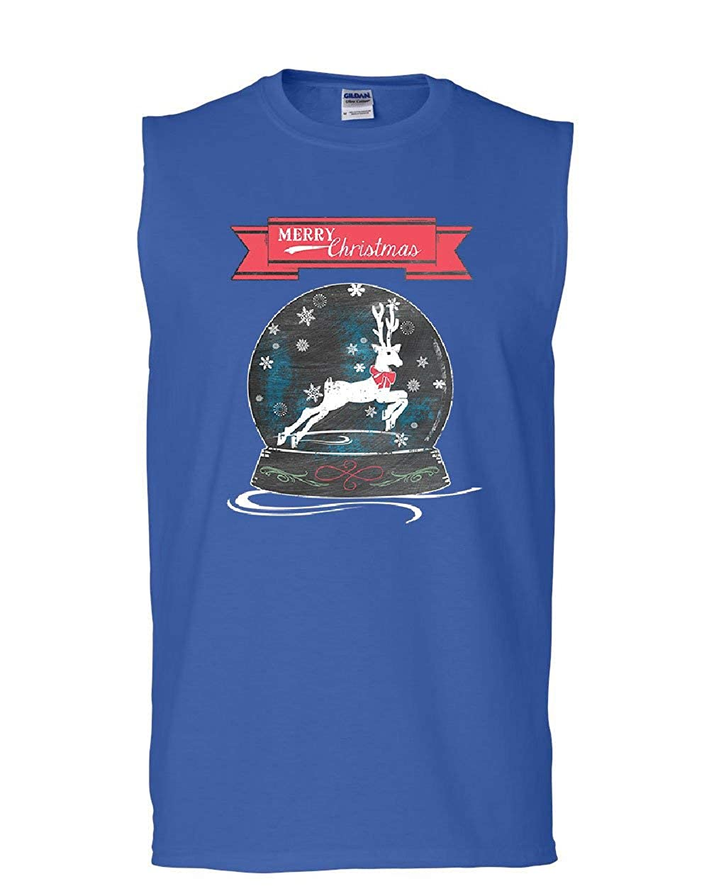 Reindeer Snow Globe Muscle Shirt Merry Christmas Xmas Rudolph Santa Sleeveless