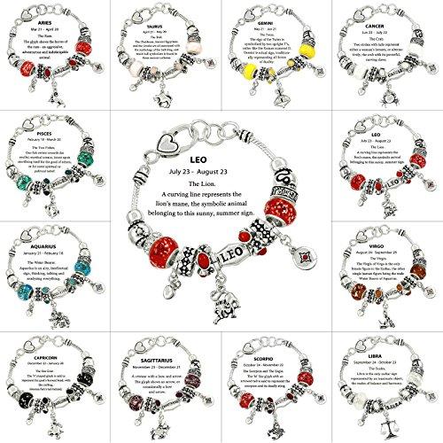 - Falari Zodiac Charm Bracelet Multi-Color Slide Metal Murano Beads Silvertone Leo