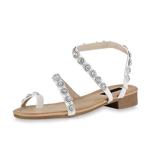 Damen Plateau Blumen Strass Sandalen Sandaletten Zehentrenner Sommerschuhe Mode