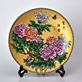 XICHENGSHIDAI Chinese Home Accessories Decorative Plate Crafts Handmade Ceramic Desktop Ornaments Small 20cm