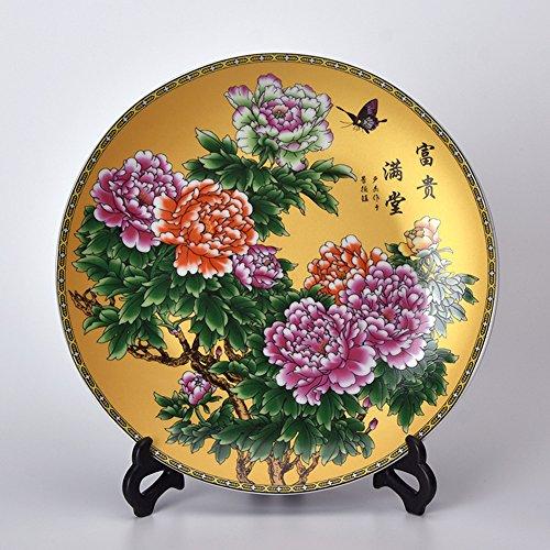 XICHENGSHIDAI Chinese Home Accessories Decorative Plate Crafts Handmade Ceramic Desktop Ornaments Small 20cm