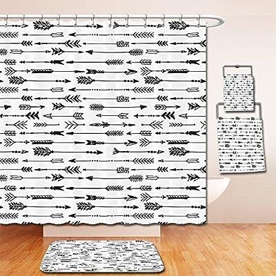 LiczHome Bath Suit: Showercurtain Bathrug Bathtowel Handtowel Arrow Decor Collection Arrows Rustic Pattern Vintage Decorative Artwork in Drawing Effect Polyester Fabric Etra Black andhite For Bathroom