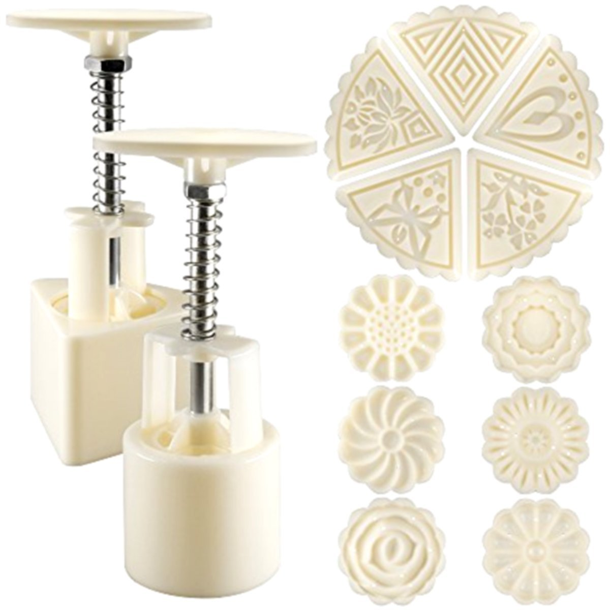 KINGSO Mid-Autumn Festival Mooncake Mold Hand Pressure Mould DIY Cake Decoration Tool (11 Flower Stamps)