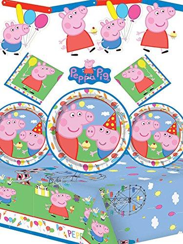 Peppa Pig – Kit de fiesta para cumpleaños infantil, con pancarta