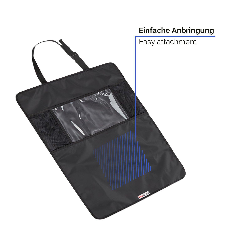 Auto-R/ückenlehnenschutz schwarz R/ücksitzschoner mit Tablet-Halter Kick-Matten-Schutz R/ücksitztasche TECAROO 2er-Set R/ücksitz-Organizer