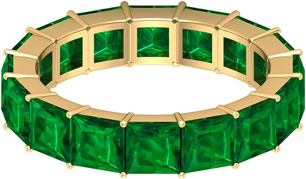 Dainty Full Eternity Banda, 5,6 quilates, 4 x 4 mm, corte princesa creado en laboratorio, anillo de esmeralda, anillo de piedra de nacimiento de mayo, 10K Oro