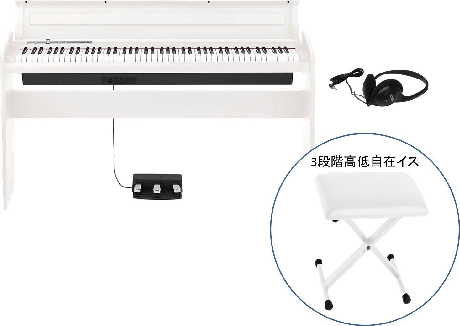 【純正ヘッドホン+純正折り畳みイス(白)セット】 KORG / コルグ LP-180 WH  電子ピアノ ホワイト B00TN6SFEK