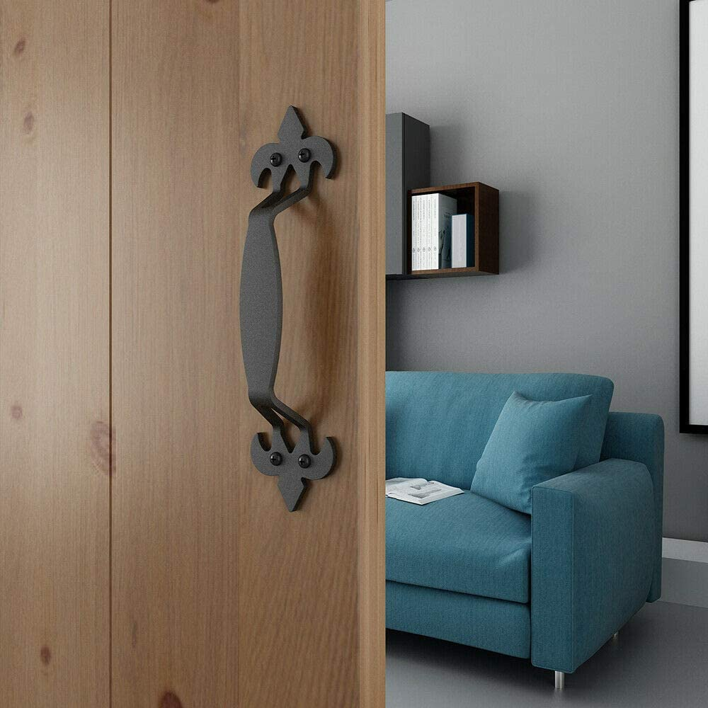JUBEST 10-7//8in Side Mount Pull Handle for Sliding Barn Door Matte Black Nordic Style
