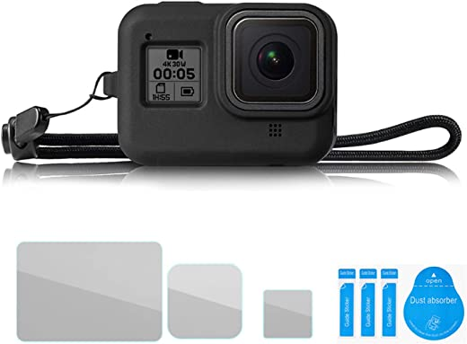 For GoPro hero 8 Silicone Protective Cover hero8 Black Camera Protective Cover Dustproof Anti-fall Belt Tempered Film Protection Set