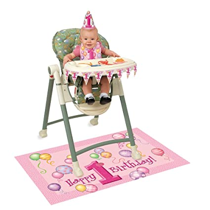 Amazon Pink 1st Birthday High Chair Decorating Kit 4pc Kitchen Dining