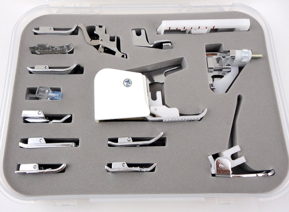 15 pcs Sewing Machine Presser /Walking Feet Kit - Suitable With Babylock, Janome, Brother, New Home, Singer, Kenmore, Simplicity, Elna, Toyota, Necchi Coolbuy112