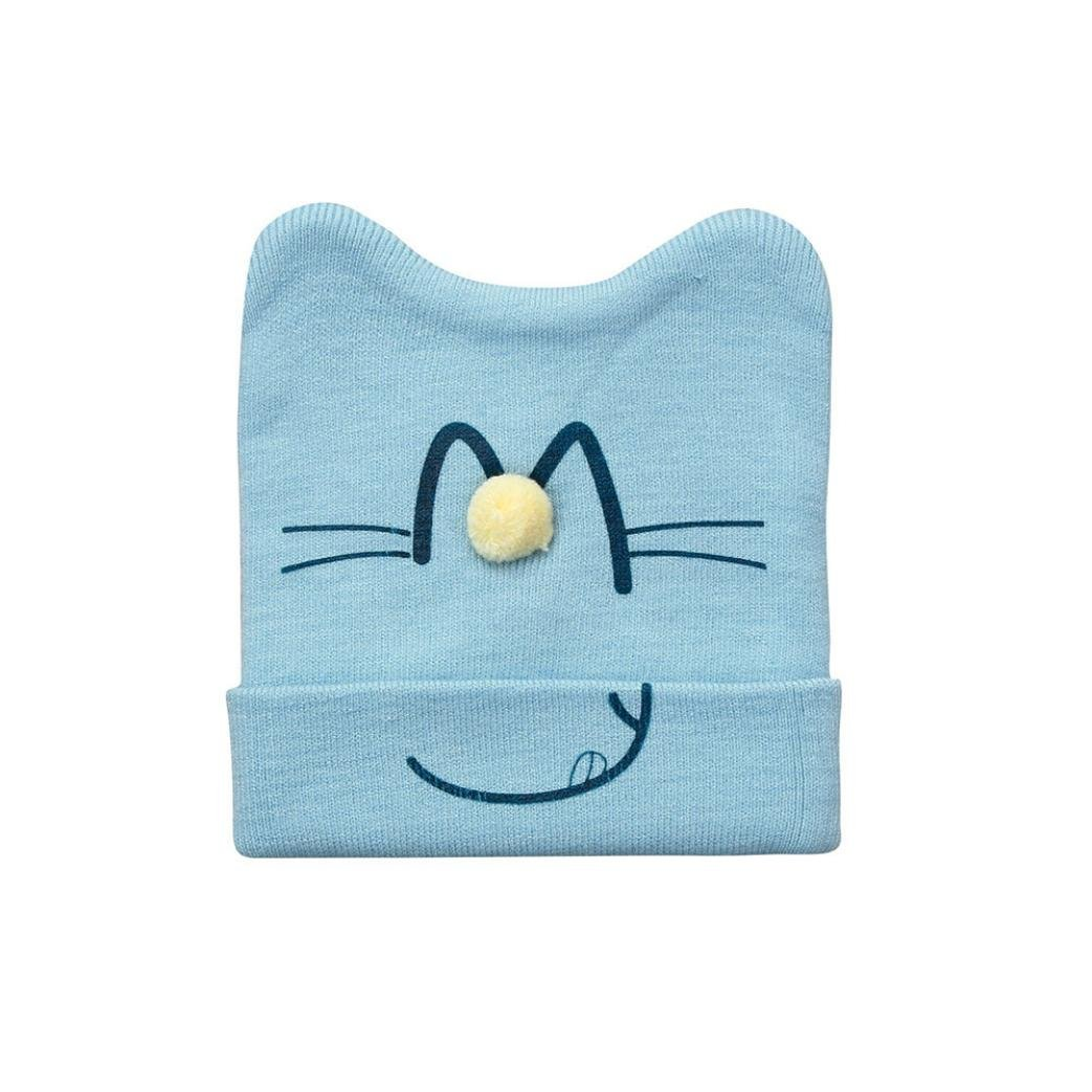 Baby Girls Boys Cute Beanie Cat Cotton Hat Children Print Hats Digood Suit for 1-3 Years Old Baby