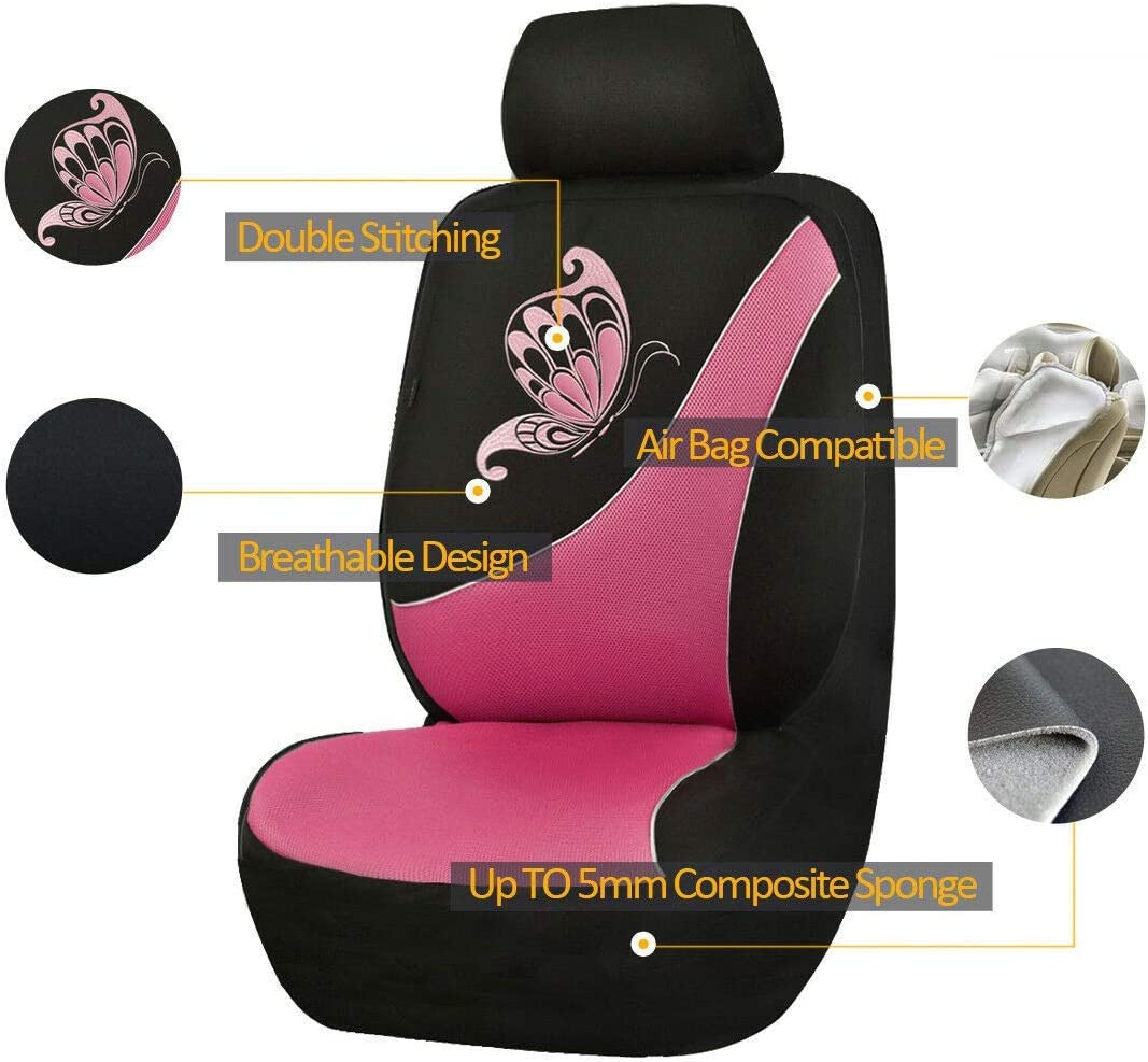 Mint Green with Black Flying Banner Car Seat Covers 2 Front Seats Polyester Cover Embroidered Butterfly Three-Dimensional 3D