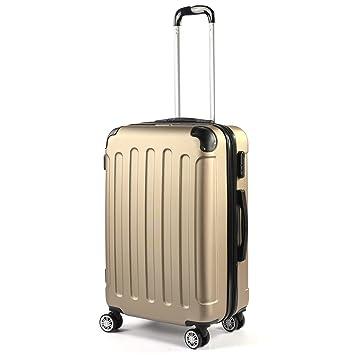 flexot - Maletín de Viaje Maleta - Tamaño M - Maleta de Viaje rígida de 4 neumáticos, expandible - Asas Doble - Zwilling Neumáticos - Champagne: Amazon.es: ...