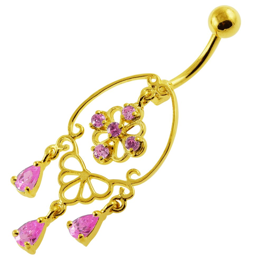 Gold Plated Over Pink Crystal Stone Chandelier Style 925 Sterling Silver Belly Button Ring
