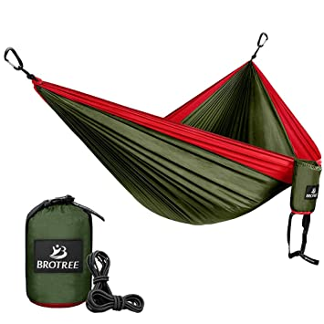 High Quality Brotree Double Camping Hammock   Portable Lightweight Parachute Nylon  Hammock   Ropes And Carabiners Included