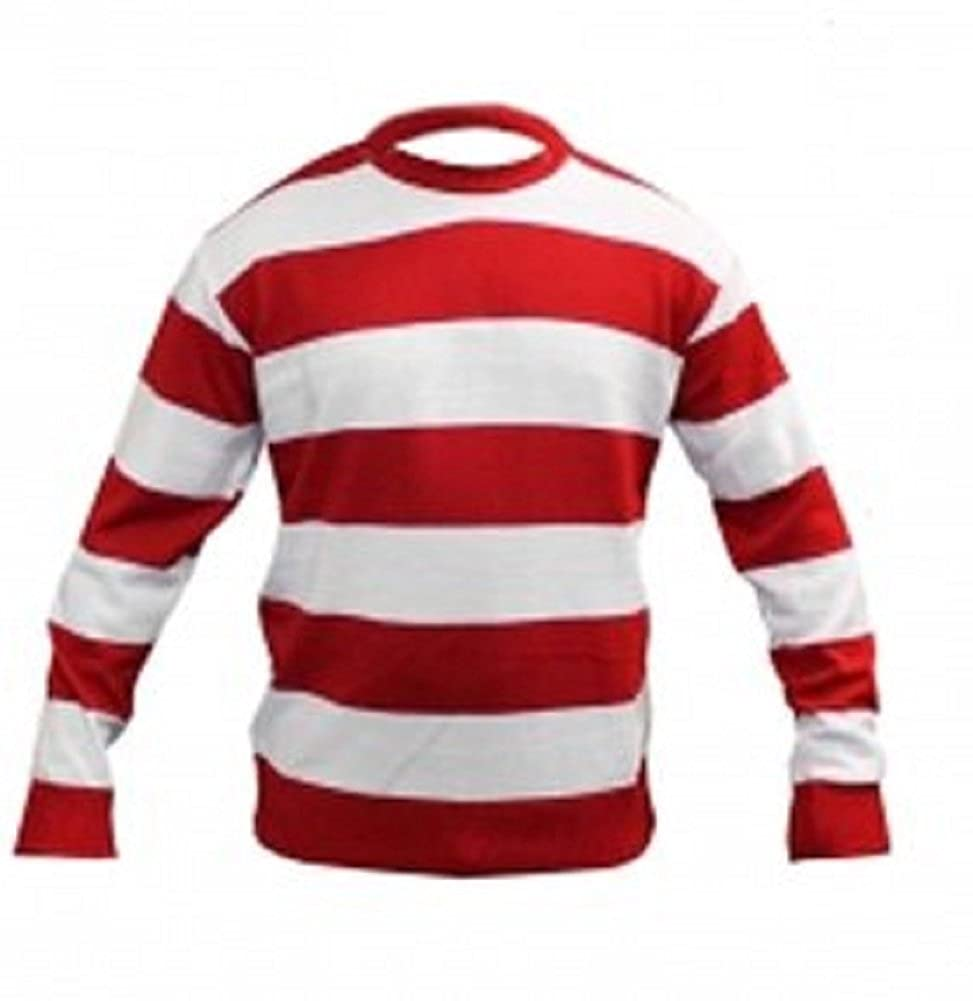 Children's White Red Stripe Jumper Age 7-12 Yrs Age 11-12)
