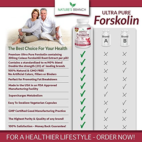 ★ PREMIUM 100% ULTRA PURE Forskolin Extract For Weight Loss MAX STRENGTH w/ 40% Standardized Appetite Suppressant Fat Burner Supplement Belly Buster Fuel with Coleus Root Extract 60 Diet Pills