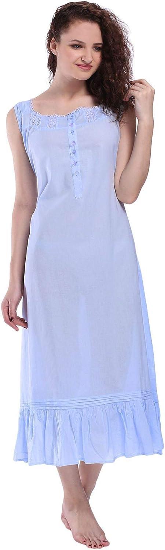 Sleeveless Night gown Nightwear Sleepwear Crew neck Ruffled Long Ladies Nighties
