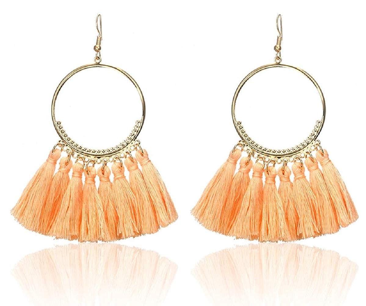 Glitz Stylish Round Big Hoop Yellow Thread Earrings for Women /& Girls Fancy Party Wear