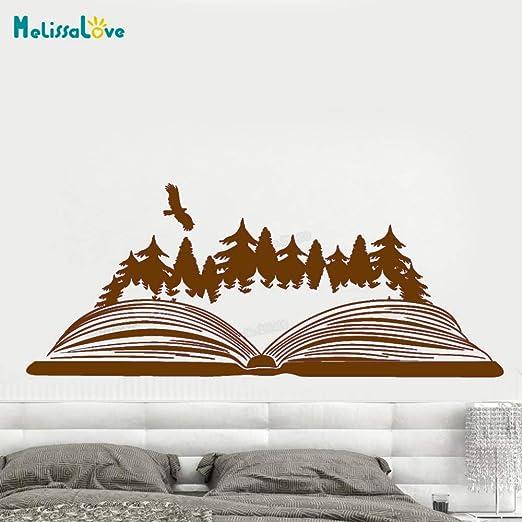 zhuziji Vinilo Tatuajes de Pared Libro Abierto Magic Forest Bird ...
