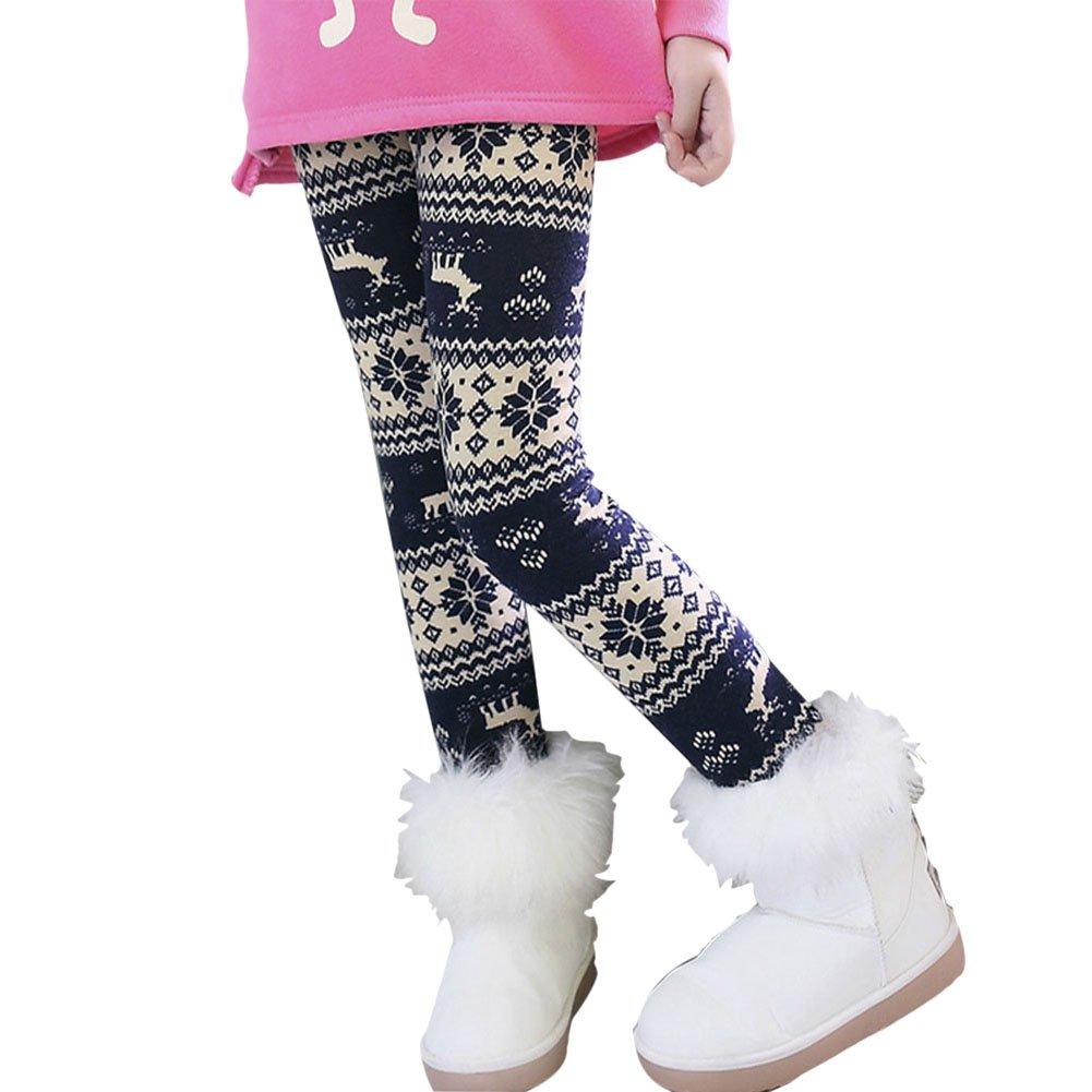 ESHOO Kids Girls Flower Elk Print Fleece Lined Leggings Winter Thick Pants
