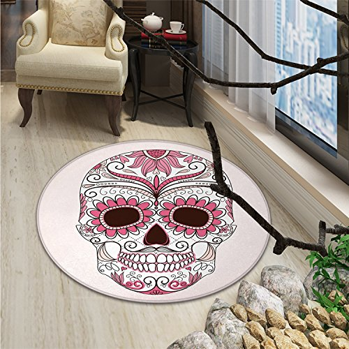 Sugar Skull Round Area Rug Carpet Mexican Ornaments Calavera Catrina Inspired Folkloric Art MacabreOriental Floor and Carpets Pink Pale Pink White