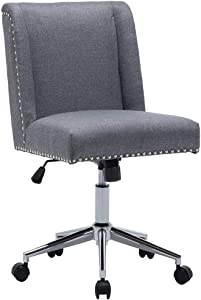 Upholstered Linen Fabric Home Office Chair Nailhead Trim Task Chairs Height Adjustable Swivel Desk Chair Grey