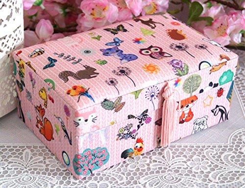 Schmuckkästchen Schmuckkasten Schmuckschatulle Kinder Mädchen Tiere rosa