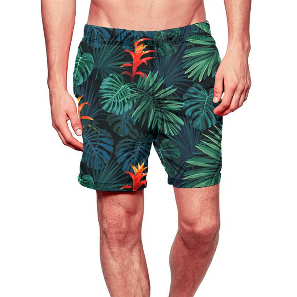 F_Gotal Men's Swimming Trunks Quick Dry Board Shorts Hawaii Swimming Shorts Boxer Briefs Swimwear Bathing Suits Green