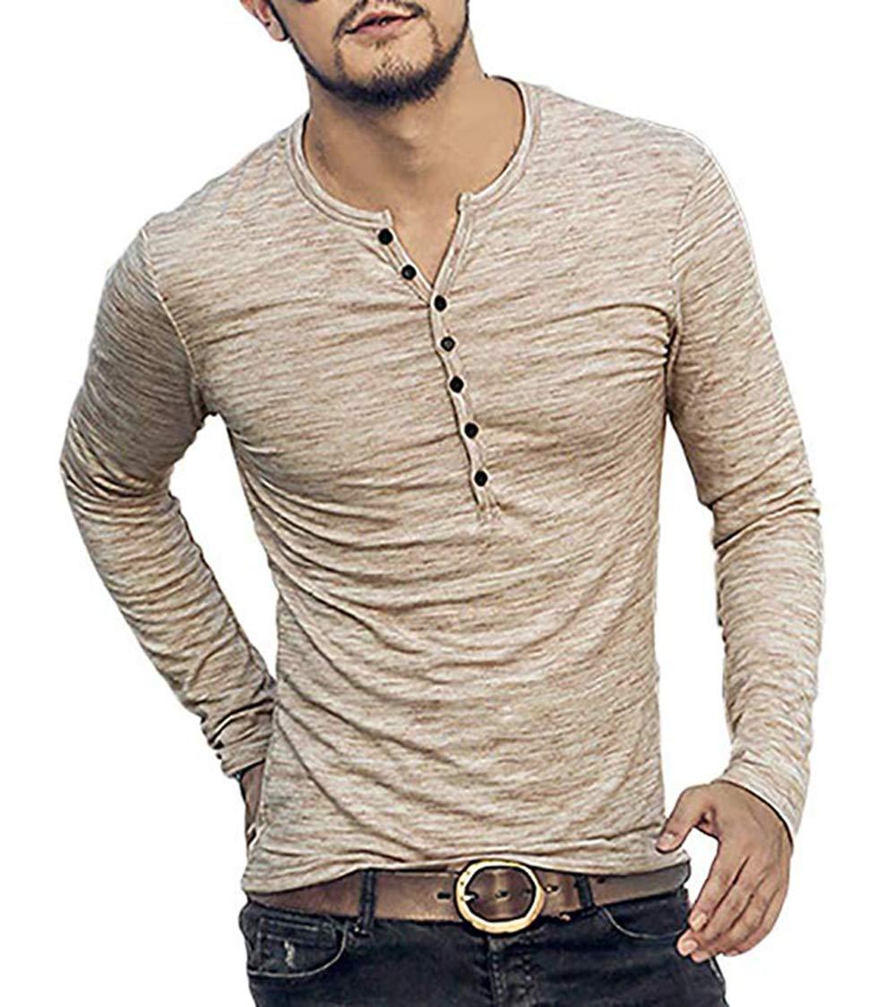 Men's Soild Henley Long Sleeve Tops Buttons Front Casual T Shirts Tee, Beige,XL