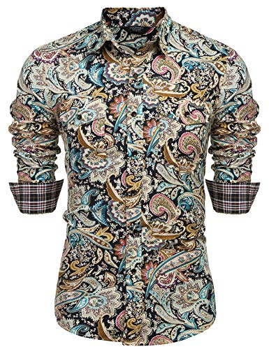 COOFANDY Mens Floral Dress Shirt Slim Fit Casual Paisley Printed Shirt Long Sleeve Button Down Shirts,Yellow,Large