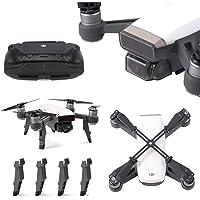 RC GearPro Gimbal Camera Lens Cap Guard + Joysticks Protector + Upgraded Landing Gear + Propeller Props Clip Blades Protector for DJI Spark Drone